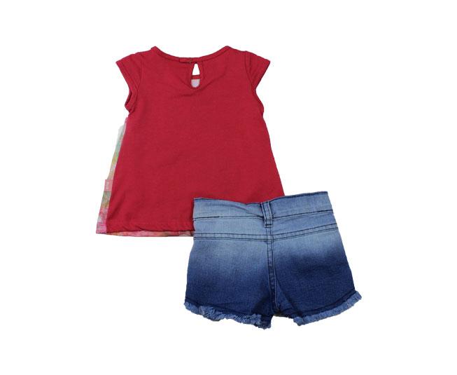 Conjunto Feminino Camiseta com Botões  Pulla Bulla
