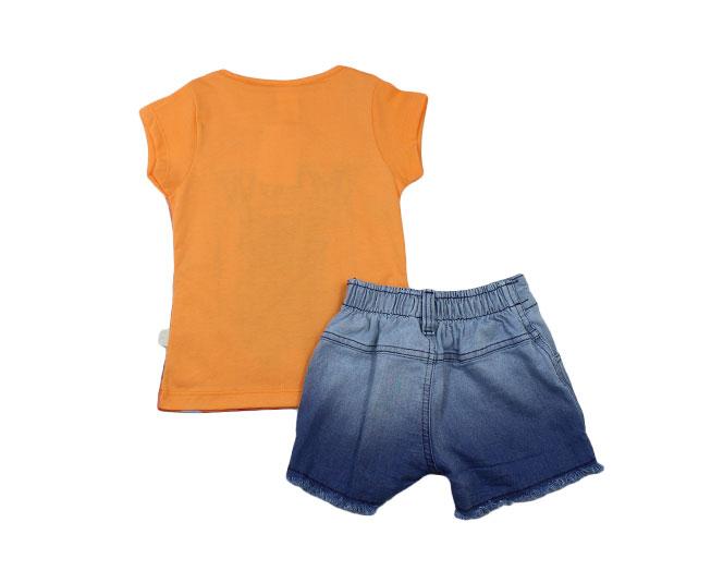 Conjunto Camiseta Laranja de Gatinho + Short Elástico com Botão Pulla Bulla
