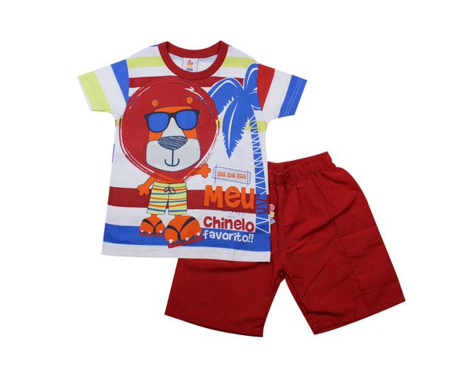Conjunto Camiseta Meu Chinelo Favorito Estampa de Leão + Short Zig Zig Zaa
