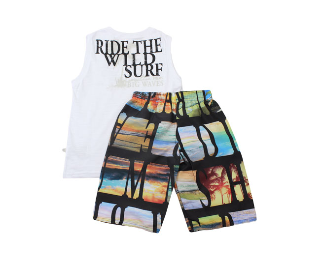 "Conjunto Camiseta Regata ""Ride The Wild Surf"" + Short de Praia Brandili"