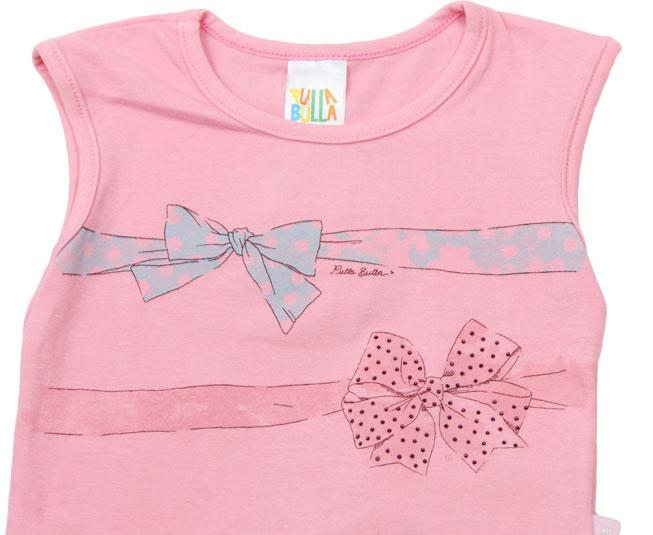 Conjunto Camiseta Rosa Regata com Estampa de Lacinho + Short Saia Florido Pulla Bulla