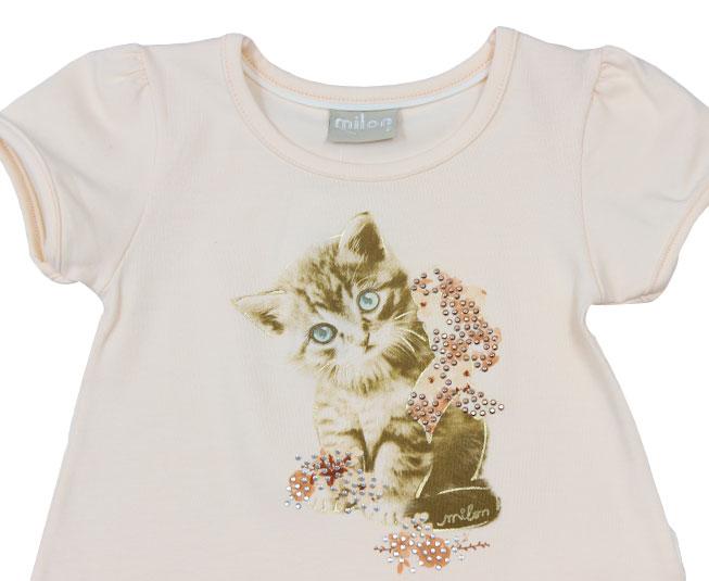 Conjunto Feminino Camiseta Gatinho  Milon