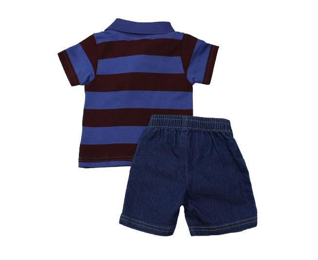 Conjunto Curto Infantil Boca Grande Estampado Azul/Vinho