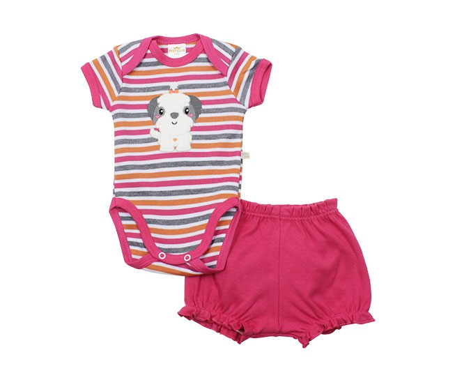Conjunto de Body Feminino Manga Curta Cachorrinho Best Club