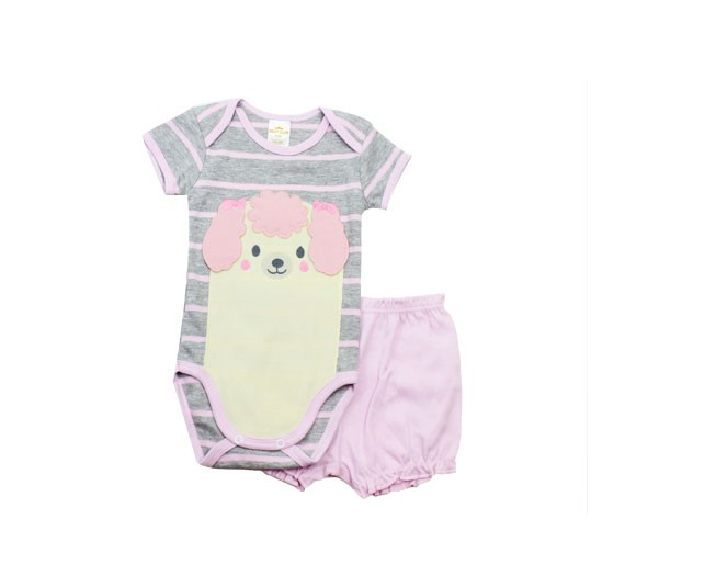 Conjunto de Body Feminino Manga Curta Listrado Cachorrinho Best Club