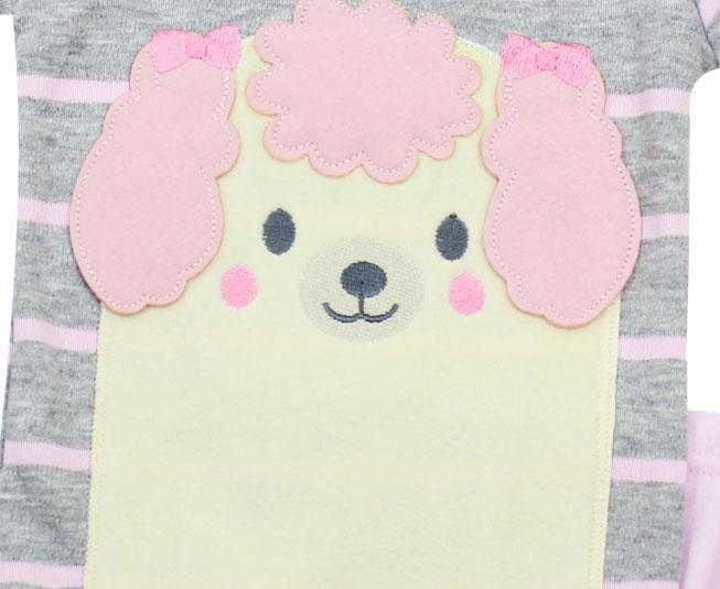 Conjunto de Body Feminino Manga Curta Listrado Cachorrinho Best Club