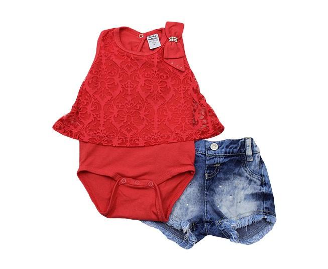 Conjunto de Body Feminino Regata com Shortinho Jeans Sonho Mágico