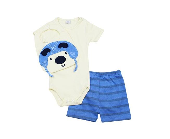 Conjunto de Body Masculino Manga Curta Urso Baby Gijo