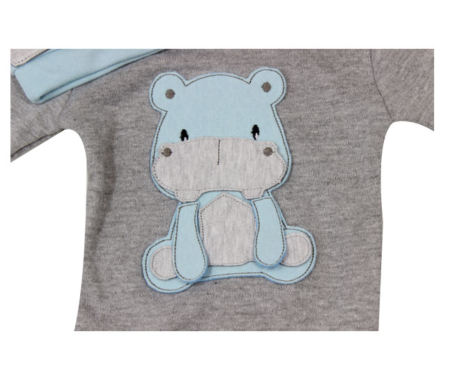 Conjunto de Body Masculino Manga Longa Hipopótamo Baby Gijo