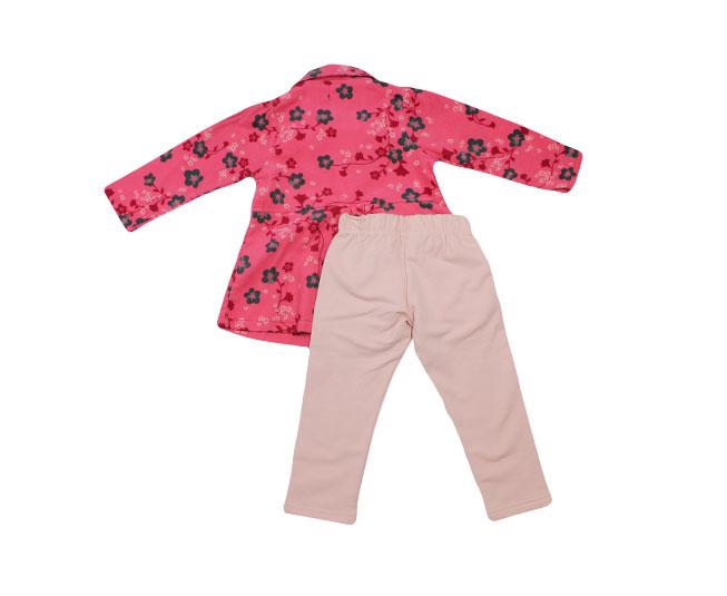 Conjunto de Inverno Camiseta Gola de Botões Floridos + Calça Carinhoso