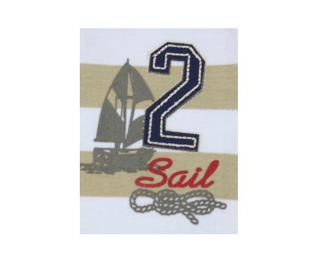 Conjunto de Regata Listrado Bege com Branco Sail Brandili