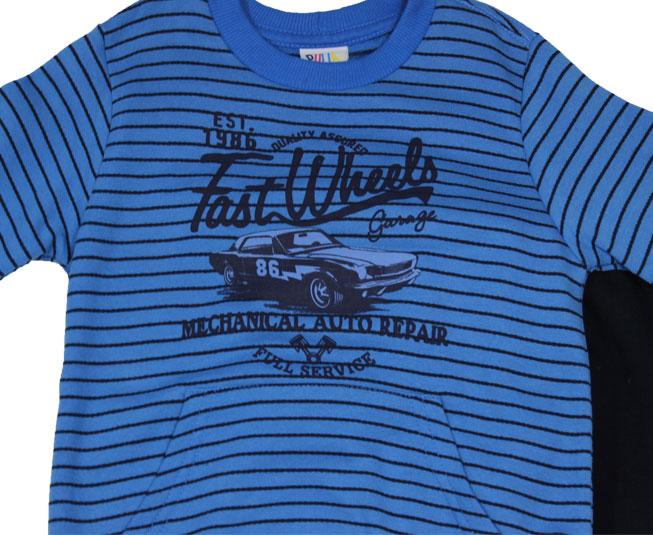 Conjunto Masculino Fast Wheels azul listrado Pulla Bulla