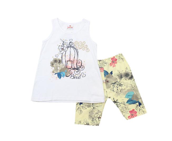 Conjunto Feminino Camiseta de Gaiola + Short Florido Brandili