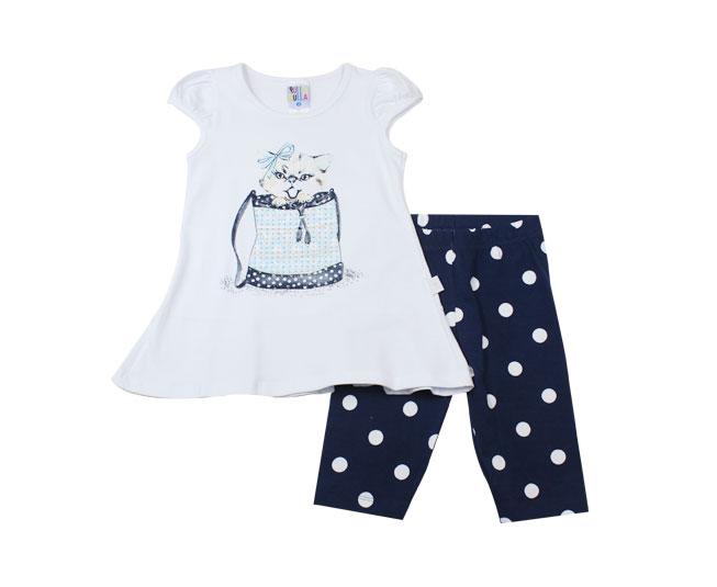 Conjunto Feminino Camiseta de Gatinho +  Short com Bolinhas Pulla Bulla