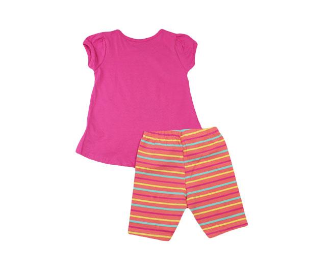 "Conjunto Feminino Camiseta ""Miss Happiness"" + Short Listrado Boca Grande"