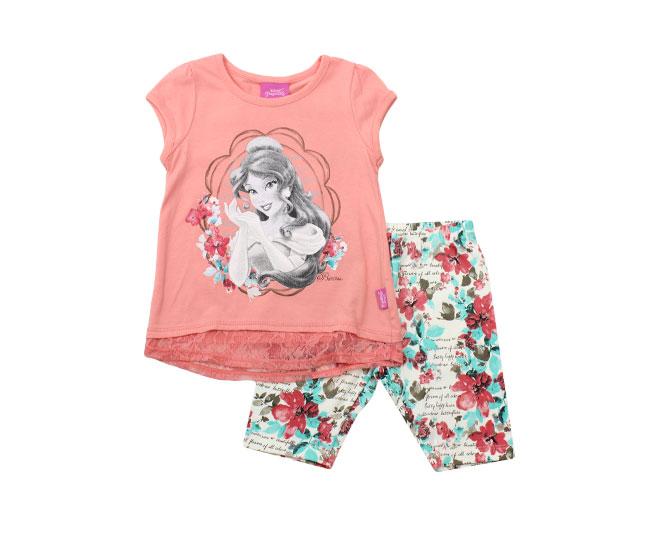 Conjunto Feminino Disney Camiseta Ariel + Short Florido Brandili