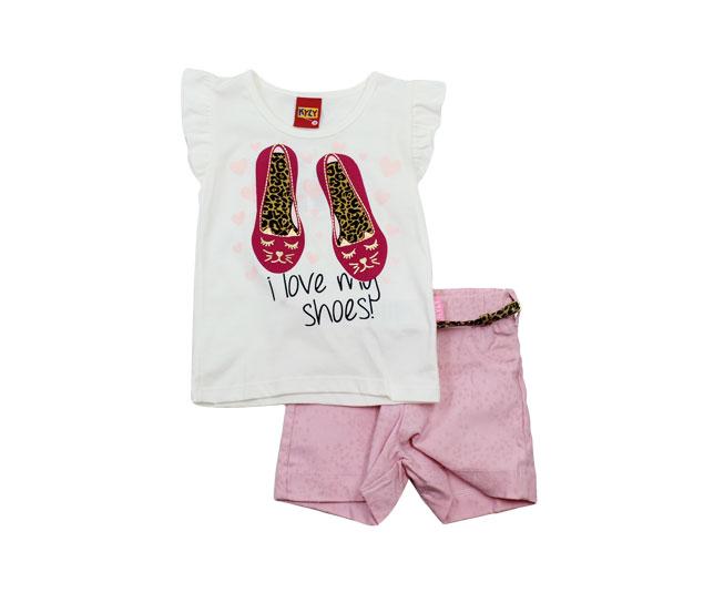 Conjunto Feminino Kyly Camiseta com Sapatilhas Short e Cinto