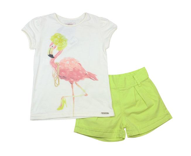 Conjunto Flamingo Camiseta+Short c/ Cinto Carinhoso
