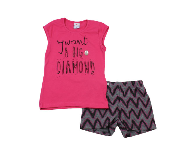 Conjunto Feminino 'I want a big diamond' Rosa Brandili