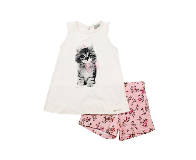 Conjunto Infantil Feminino de Gatinho Carinhoso