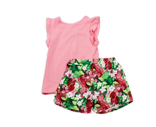 Conjunto Infantil Feminino Rosa Florido Boca Grande