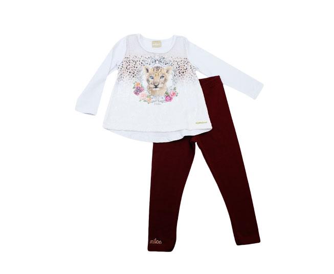 Conjunto Inverno Milon Feminino Camiseta Leãozinho e Calça