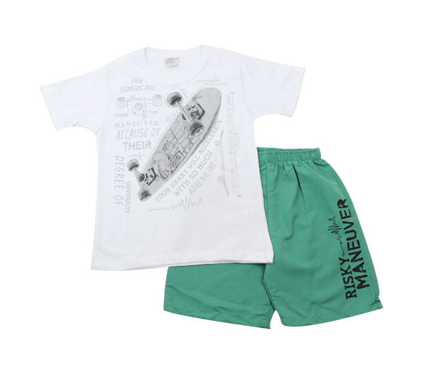 Conjunto Masculino Camiseta de Skate + Short Camiseta Branca + Short Verde / Kaiani