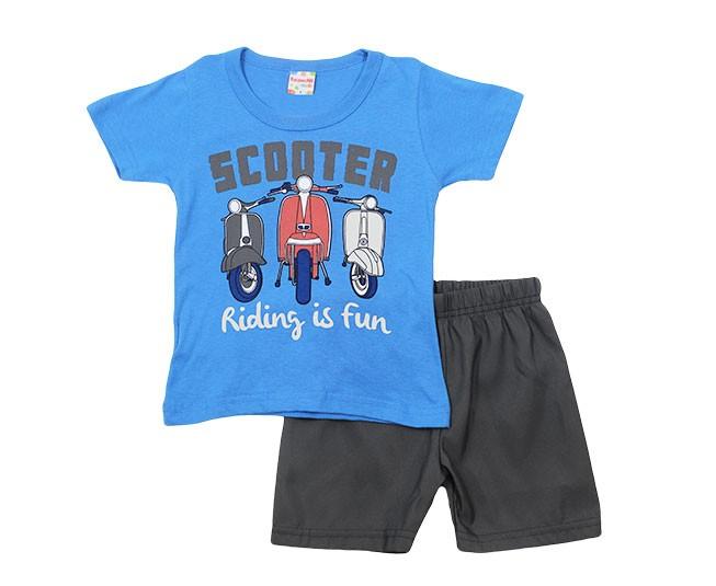 Conjunto Masculino Estampado Scooter Azul Brandili