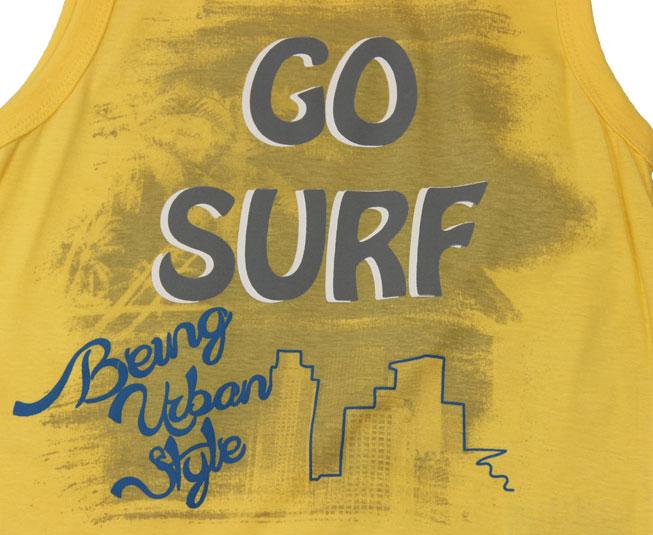 """Conjunto Regata Amarela """"GO SURF"""" + Short Cinza Brandili"""