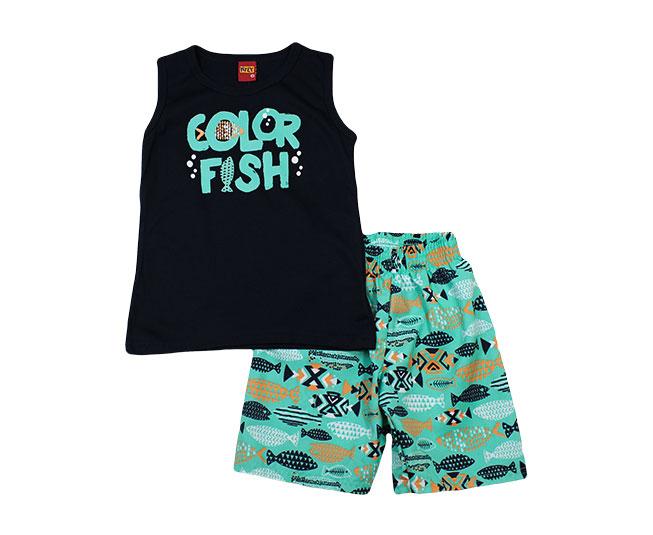 Conjunto Regata Azul com Verde Color Fish Kyly