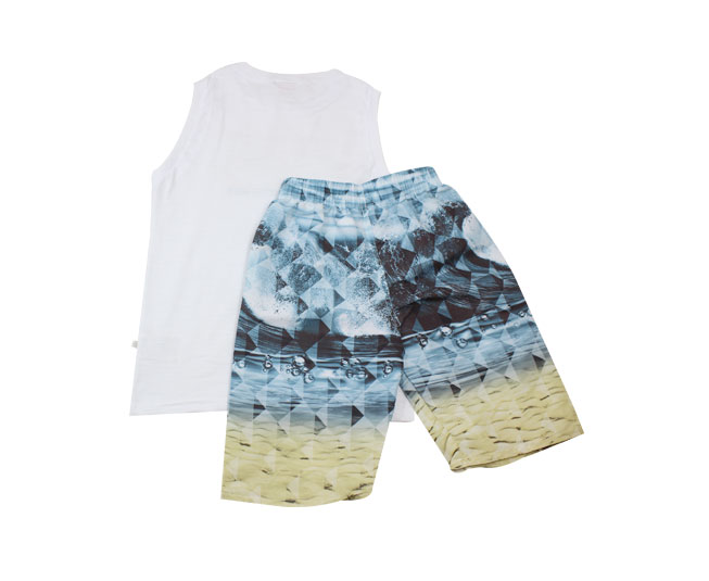 "Conjunto Regata Branca  ""BRAVE THE WAVE"" + Short de Ondas"
