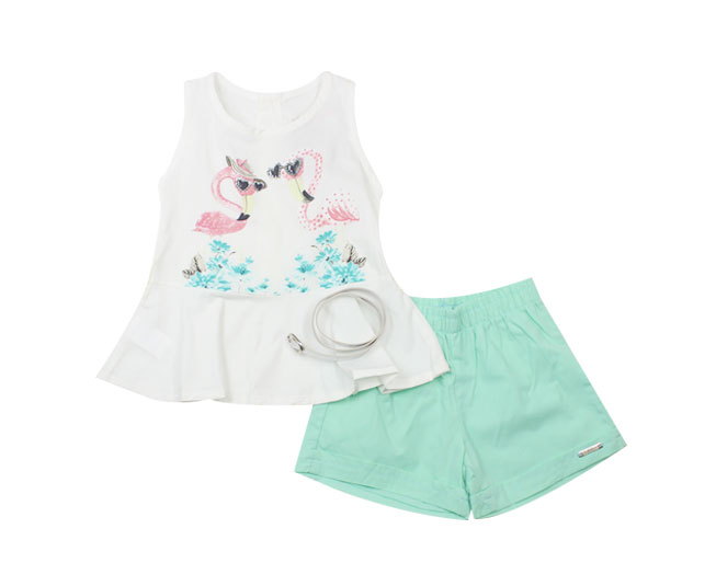 Conjunto Regata Feminino Camiseta de Flamingos + Short  + Cinto Carinhoso