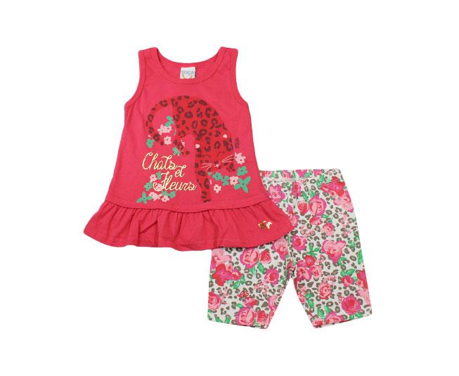 Conjunto Regata Feminino Camiseta de Oncinha + Short Florido Boca Grande