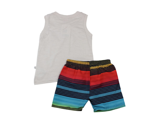 "Conjunto Regata ""On Beach Time 86 Surf Tour California"" + Short Listrado Brandili"