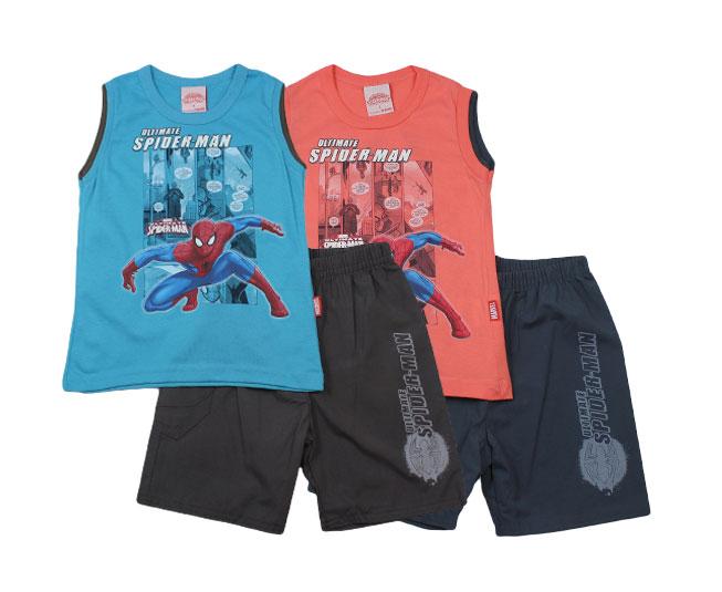 Conjunto Regata + Short Spider-Man Marvel que Brilha no Escuro Brandili