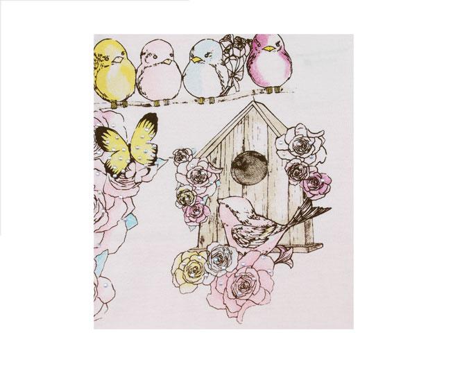 Conjunto Rosa Claro com Flores e Borboletas Brandili