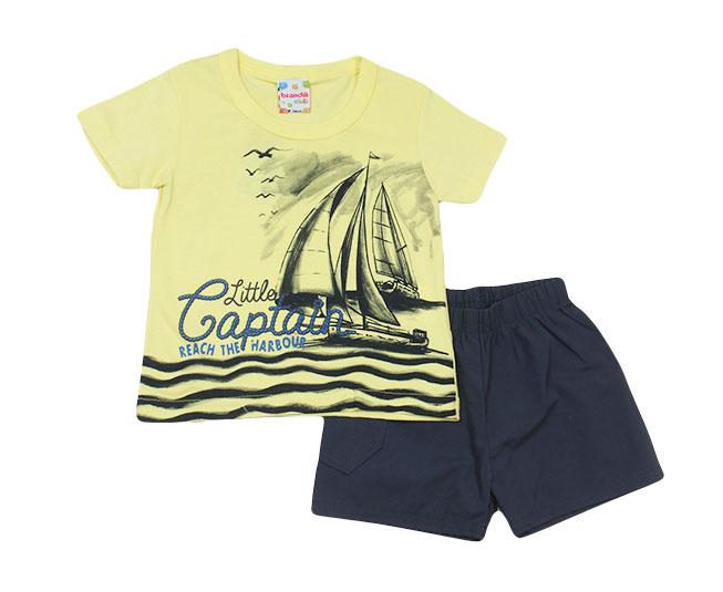 Conjunto Camiseta Amarela + Short Little Captain Brandili