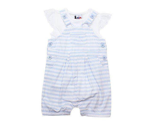 Jardineira Para Bebê Menina  Azul com Branco Tip Top