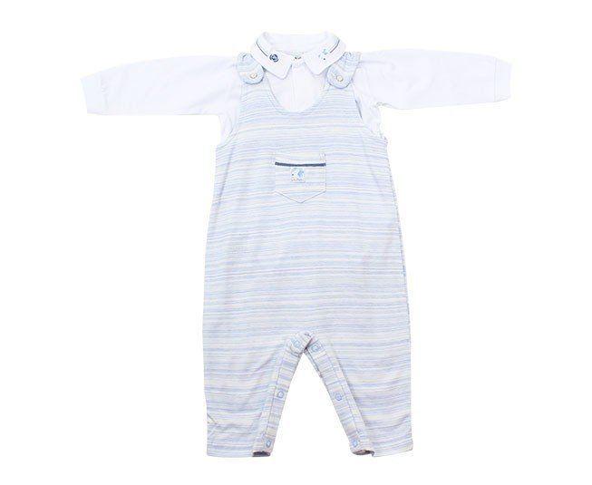 Jardineira Para Bebê Menino Azul Claro Sonho Mágico