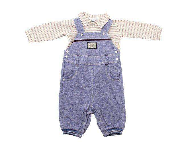 Jardineira Para Bebê Menino Azul com Bege Sonho Mágico