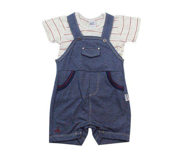 Jardineira Para Bebê Menino Azul Marinho Sonho Mágico