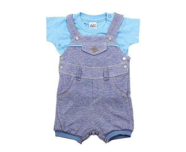 Jardineira Para Bebê Menino Azul Sonho Mágico