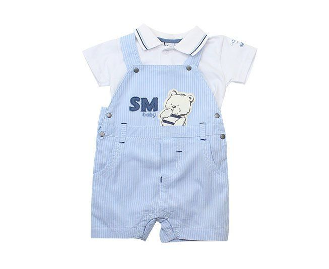 Jardineira Para Bebê Menino Azul Ursinho Sonho Mágico