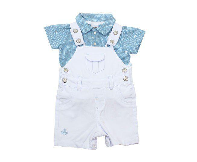 Jardineira Para Bebê Menino Branco com Verde Sonho Mágico