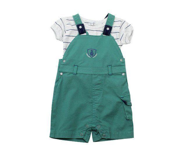 Jardineira Para Bebê Menino Verde com Cinza Sonho Mágico