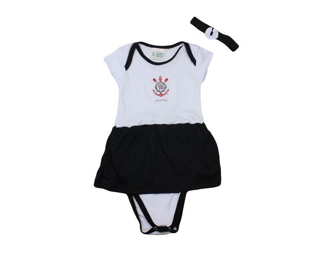 Kit Body com Saia Embutida + Lacinho Feminino Branco Oficila Corinthians Torcida Baby