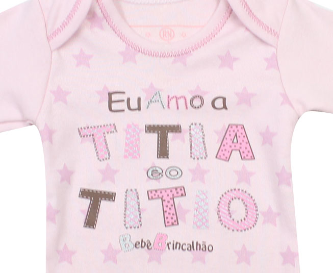 Kit Body Manga Longa Mamãe Titia Capitã