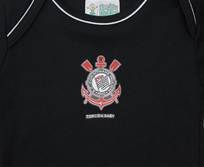 Kit Body + Short Masculino Preto Oficial Corinthians Torcida Baby