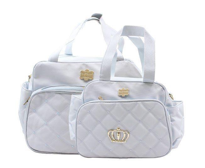 Kit Bolsa Maternidade Azul Claro Coroa Griff Baby