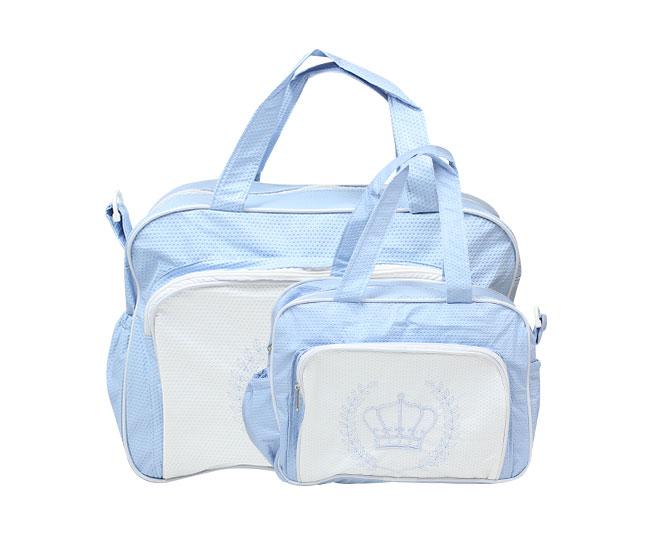Kit Bolsa Maternidade Azul Claro e Branco Coroa Mave Baby